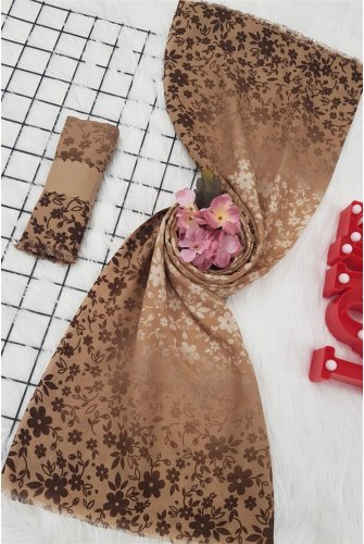 Patterned With Flowers Viscose Wrap -Mink