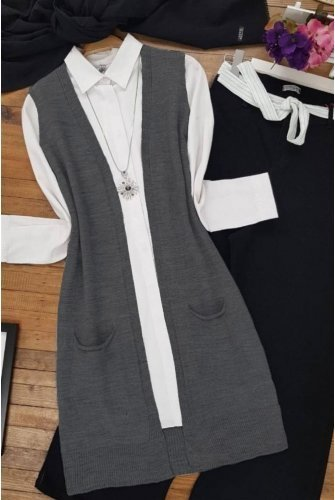 Double Pockets Vest           -Smoked