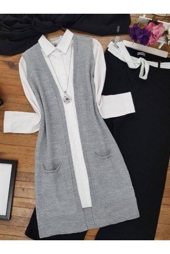 Double Pockets Vest -Grey