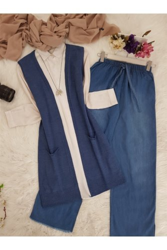 Double Pockets Vest       -İndigo