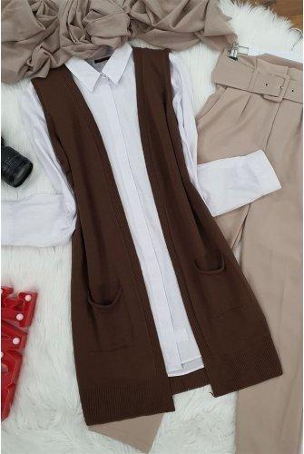 Double Pockets Vest        -Brown