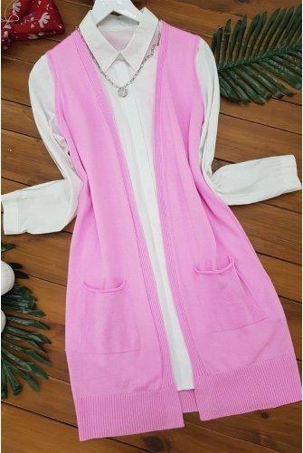 Double Pockets Vest          -Pink