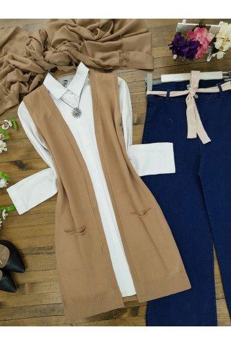Double Pockets Vest    -Mink