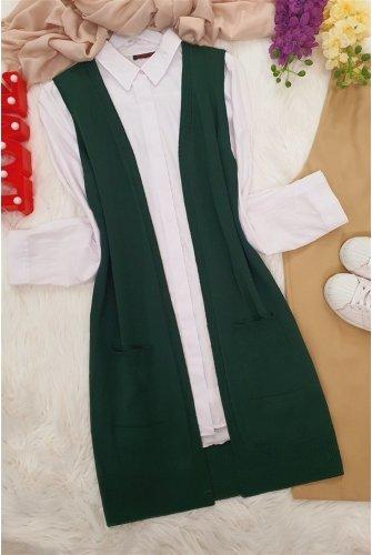Double Pockets Vest         -Emerald