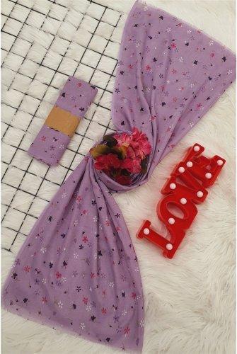 Çıtır Çiçekli Viscose Wrap -Lila