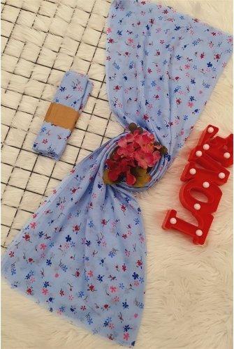 Çıtır Çiçekli Viscose Wrap -Blue