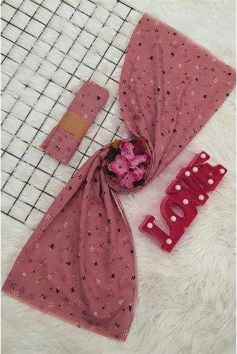 Çıtır Çiçekli Viscose Wrap -Pink