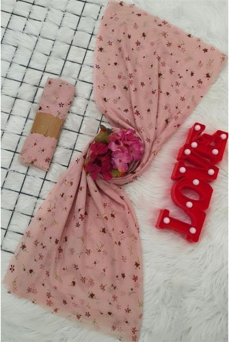 Çıtır Çiçekli Viscose Wrap -Light Pink