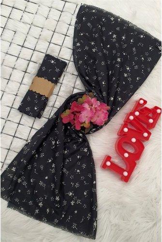 Çıtır Çiçekli Viscose Wrap -Black