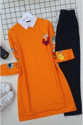 Lined Karakter Baskılı Sweat -Orange