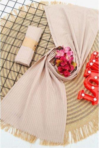 Striped Cotton Wrap -Beige