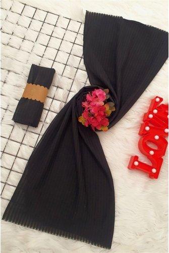 Striped Cotton Wrap -Black