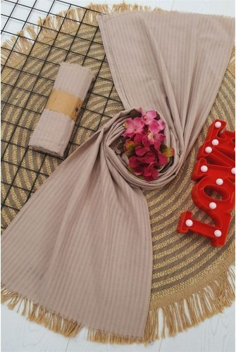 Striped Cotton Wrap -Stone