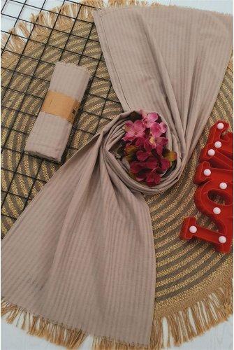 Striped Cotton Wrap -Mink
