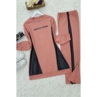 Leather Detailed Penye Suit -Rose Kurusu