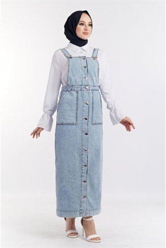 Button Detailed Jeans Slopet -Buz Blue