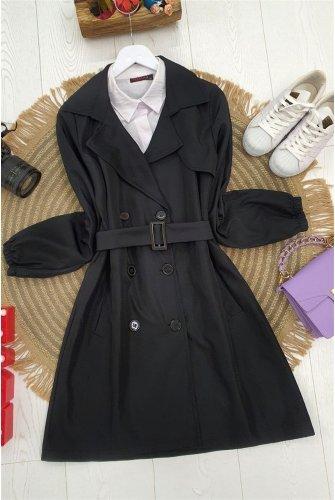 Button arm Elastic Arched Short Trenckot -Black