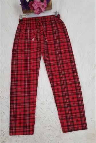 Ekoseli waisted Laced Pyjamas -Red
