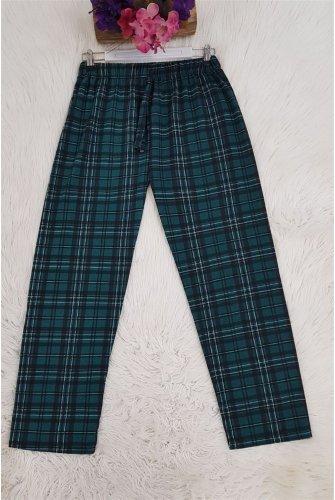 Ekoseli waisted Laced Pyjamas -Emerald