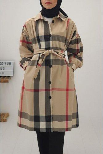 Ekoseli waisted Arched Trench coat -Mink