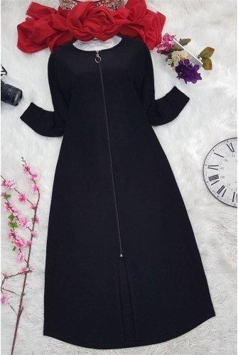 Zipped Abayas -Black