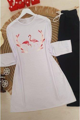 Filamingo Patterned Tshirt -White