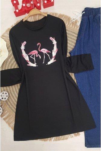 Filamingo Patterned Tshirt -Black