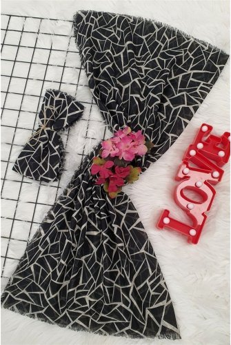 Geometrik Desen Scarf -Black