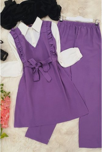 Shirt Topped Ayrobin Suit  -Lila