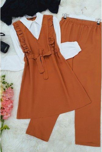 Shirt Topped Ayrobin Suit  -Cinnamon