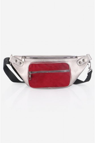 Grey Ve Claret Red Velvet Pockets Leather Waist bag