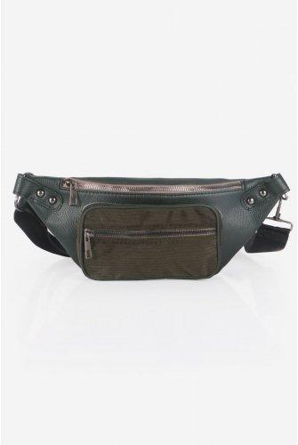 Khaki Velvet Pockets Leather Waist bag