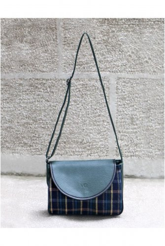 Khaki Stamping fabric Plaid Kapaklı Cross Bag