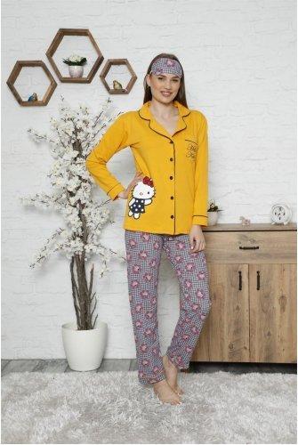 Hello Kitty Pyjamas Suit-Mustard