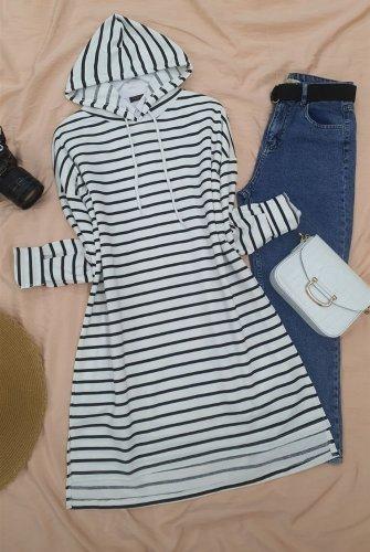 Hooded Laced Side Striped slit Tunics -Black