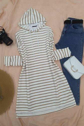 Hooded Laced Side Striped slit Tunics -Mink