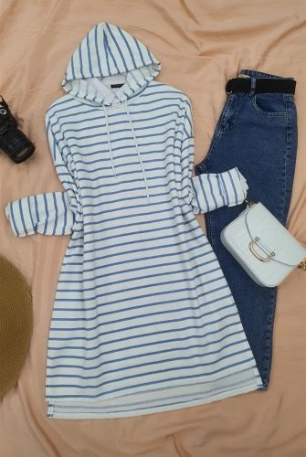 Hooded Laced Side Striped slit Tunics -Blue