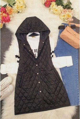 Hooded from end Snap Kapitoneli Vest -Black