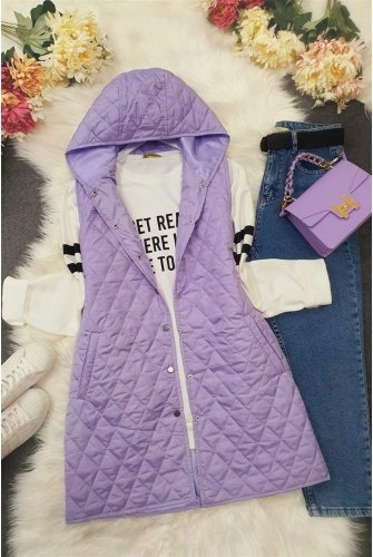 Hooded from end Snap Kapitoneli Vest -Lila