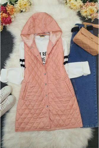 Hooded from end Snap Kapitoneli Vest -Light Pink