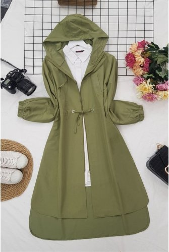 Hooded from end Zipped Laced Trenckot -Khaki