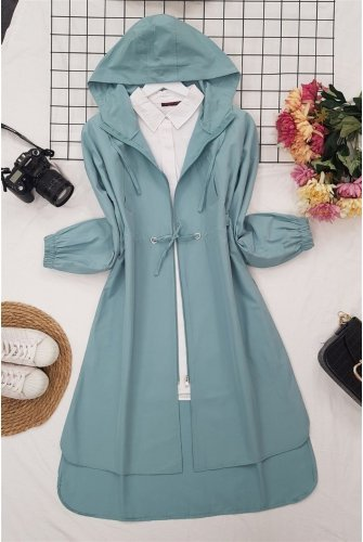 Hooded from end Zipped Laced Trenckot -Mint