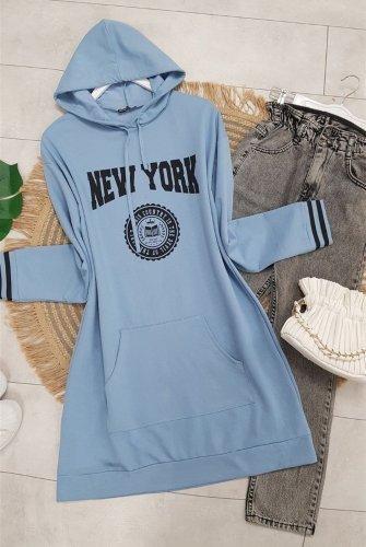 Hooded Pockets NewYork Written Tunics -Blue