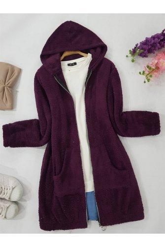Hooded Zipped Plush Mont -Damson