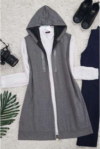 Hooded Penye Vest -Smoked