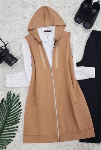 Hooded Penye Vest -Mink