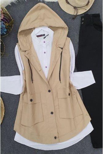Hooded Torba Pockets Vest -Beige