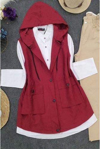 Hooded Torba Pockets Vest -Claret Red