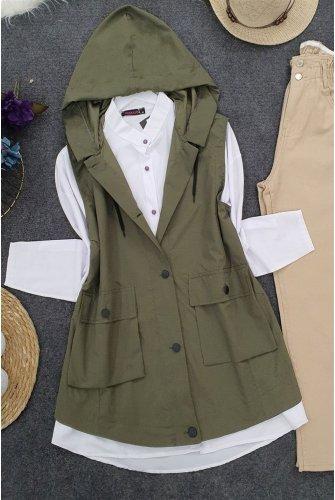 Hooded Torba Pockets Vest -Khaki