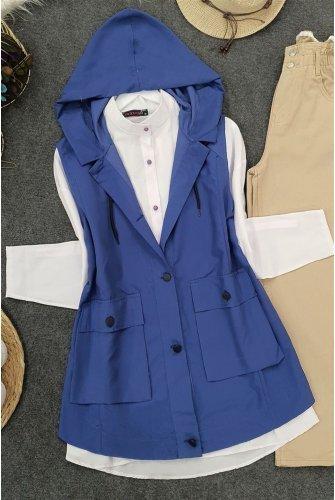 Hooded Torba Pockets Vest -İndigo